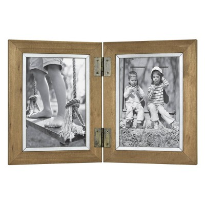 2 Opening Hinged Wood and Metal Edge Frame Brown - Threshold™