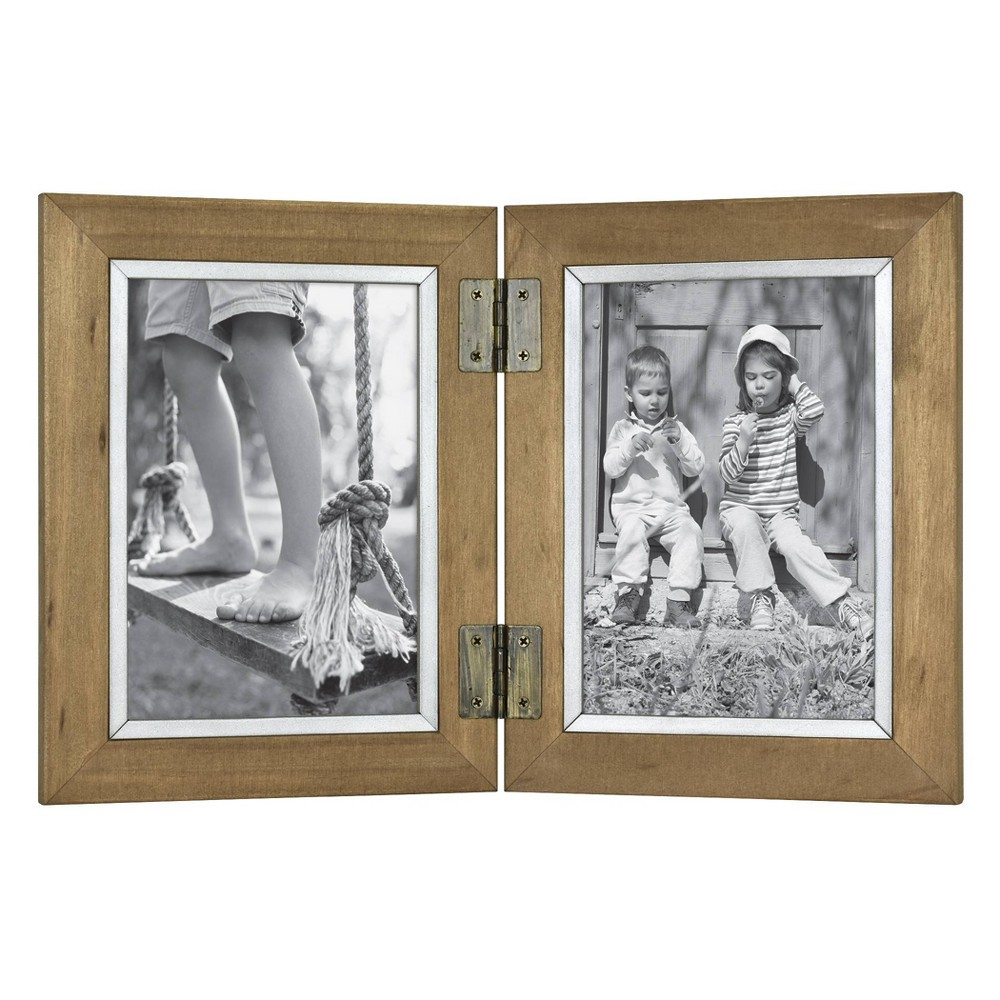 Image of 2 Opening Hinged Wood and Metal Edge Frame Brown - Threshold