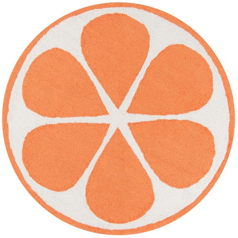 3' Fruit Hooked Round Accent Rug Orange - Novogratz By Momeni - image 1 of 3