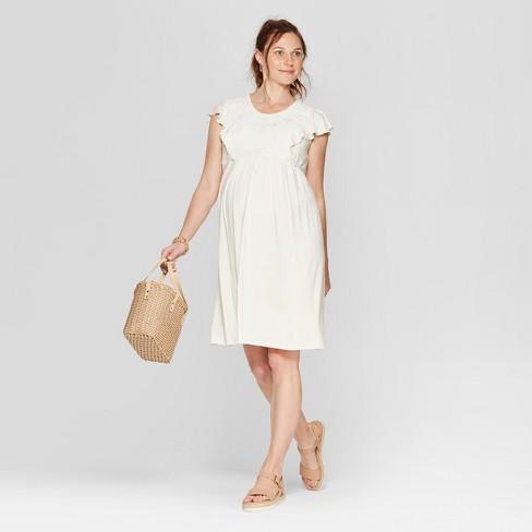 0300053691394 Maternity Lace Front Ruffle Sleeve Dress - Isabel Maternity by Ingrid &  Isabel™