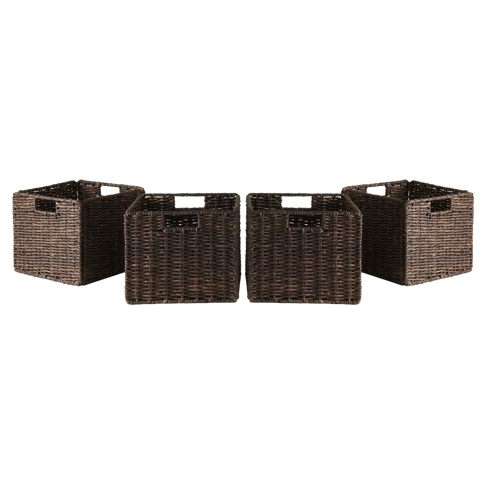 Granville 4 Piece Set Small Baskets - Chocolate - Winsome, Chocolate Heather