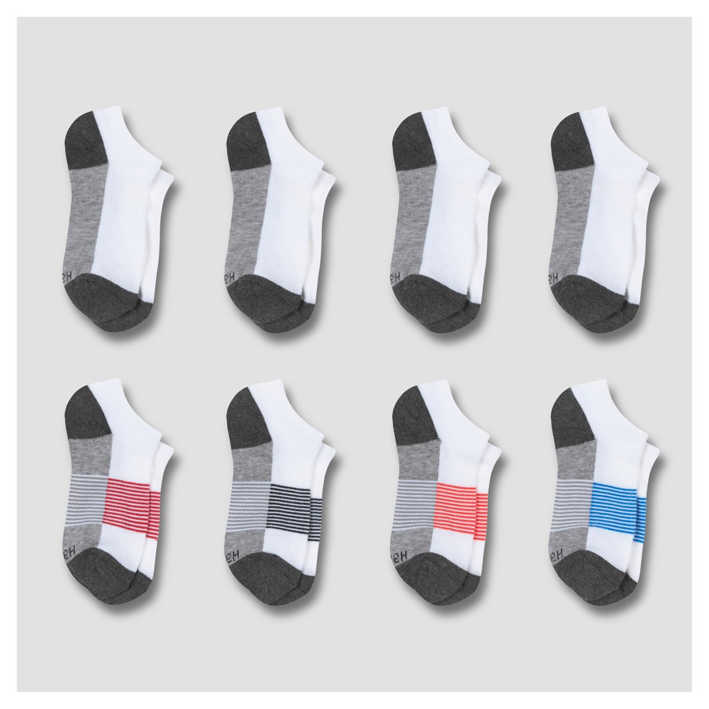 Hanes Premium Boys' 8pk No Show Athletic Socks - White M