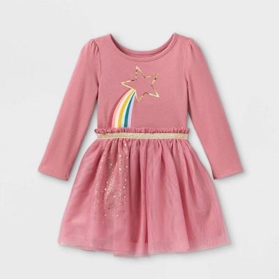 Toddler Girls' Rainbow Star Tulle Long Sleeve Dress - Cat & Jack™ Light Pink