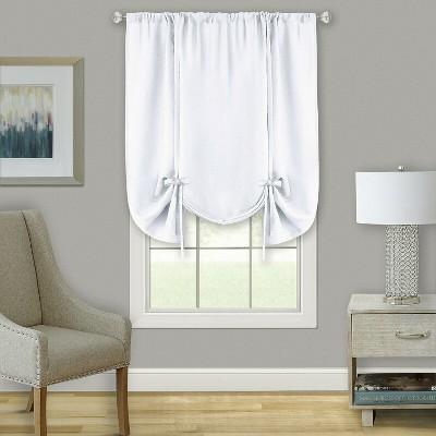 Kate Aurora Shabby Linen Farmhouse Sheer Flax Curtain Tie Up Window Shade