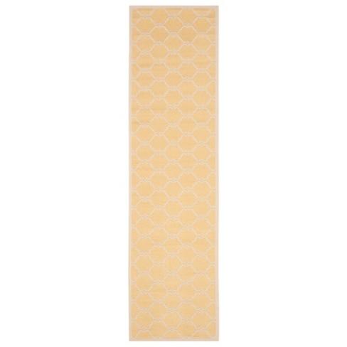 """Harrie Rectangle 2'3""""X8' Runner Outdoor Patio Rug - Yellow / Beige - Safavieh - image 1 of 3"""