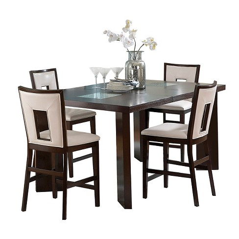 5 Piece Broward Counter Height Dining Table Set Wood White Brown Steve Silver Company