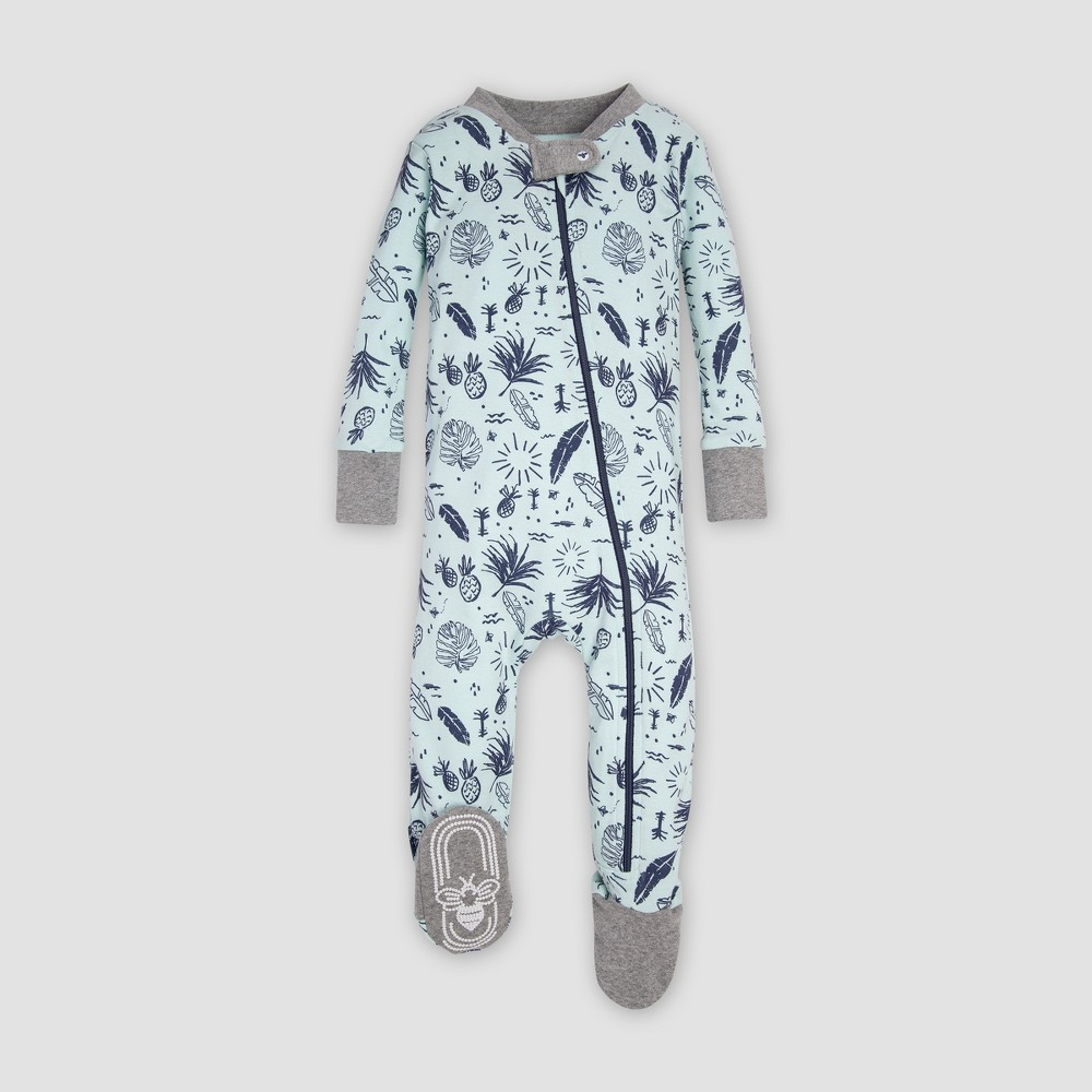 Burt's Bees Baby Organic Cotton 'Tropical Season' Footed Sleeper - Seaglass 3-6M, Infant Unisex, Blue