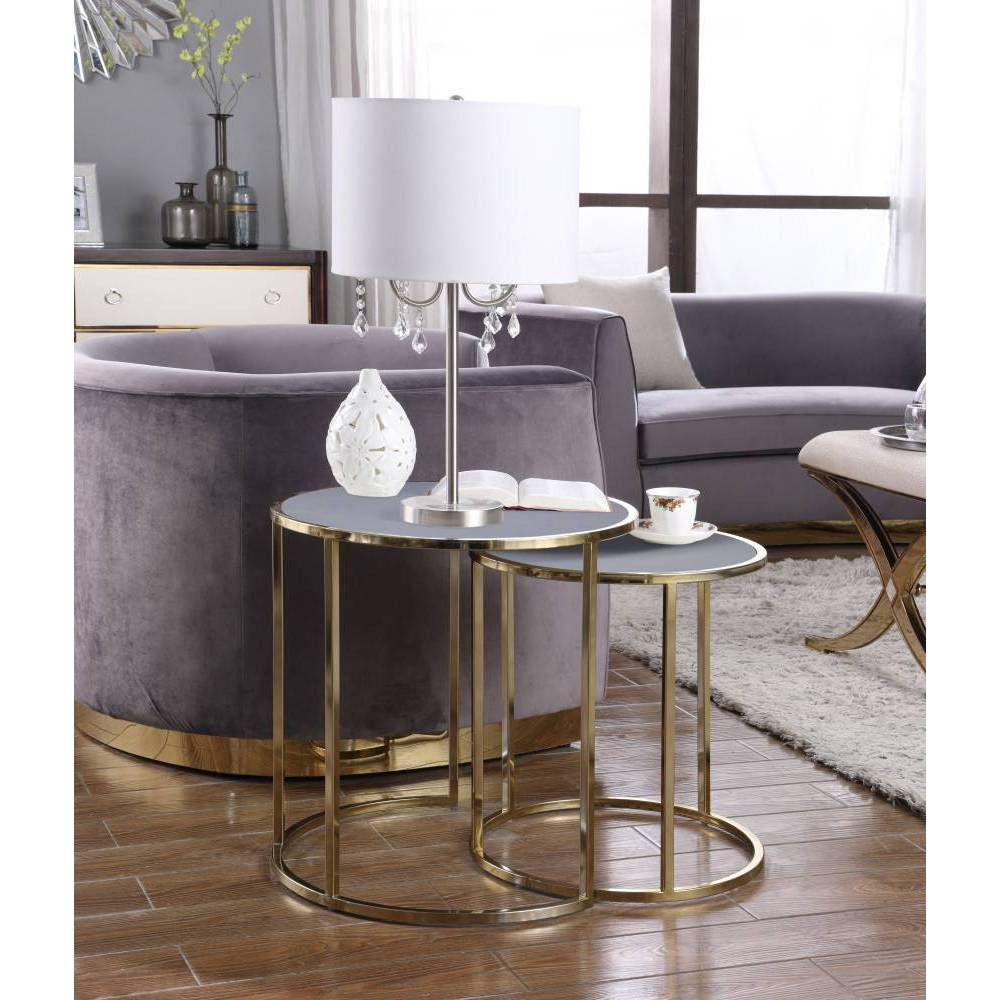 Olivia Side Table Gray - Chic Home Design was $349.99 now $209.99 (40.0% off)