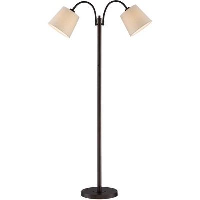 360 Lighting Modern Floor Lamp Dark Bronze Twin Arm Adjustable Gooseneck Neutral Cotton Drum Shade for Living Room Reading Bedroom