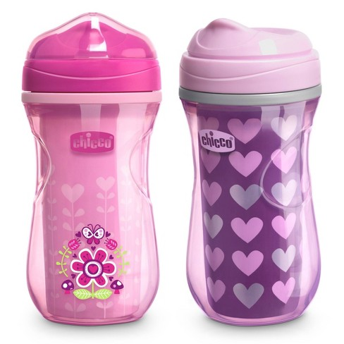 Chicco Insulated Rim Spout Trainer Sippy Cup 12m+ Pink/Purple - 9oz/2pk - image 1 of 4