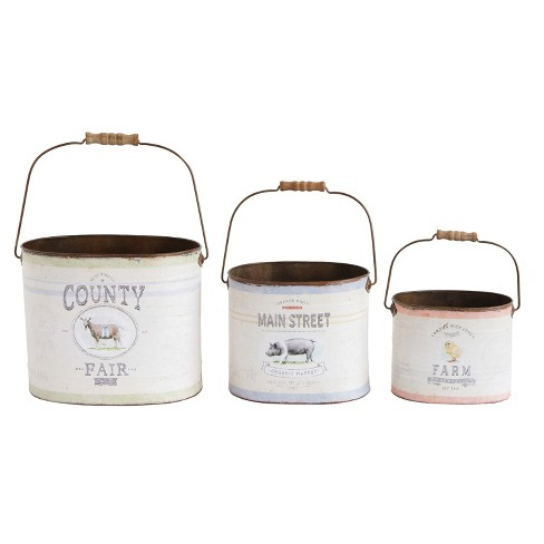 Metal Buckets with Farm Animals - Set of 3 - 3R Studios - image 1 of 2