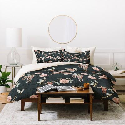 Holli Zollinger Floralista Duvet Cover Set Black - Deny Designs