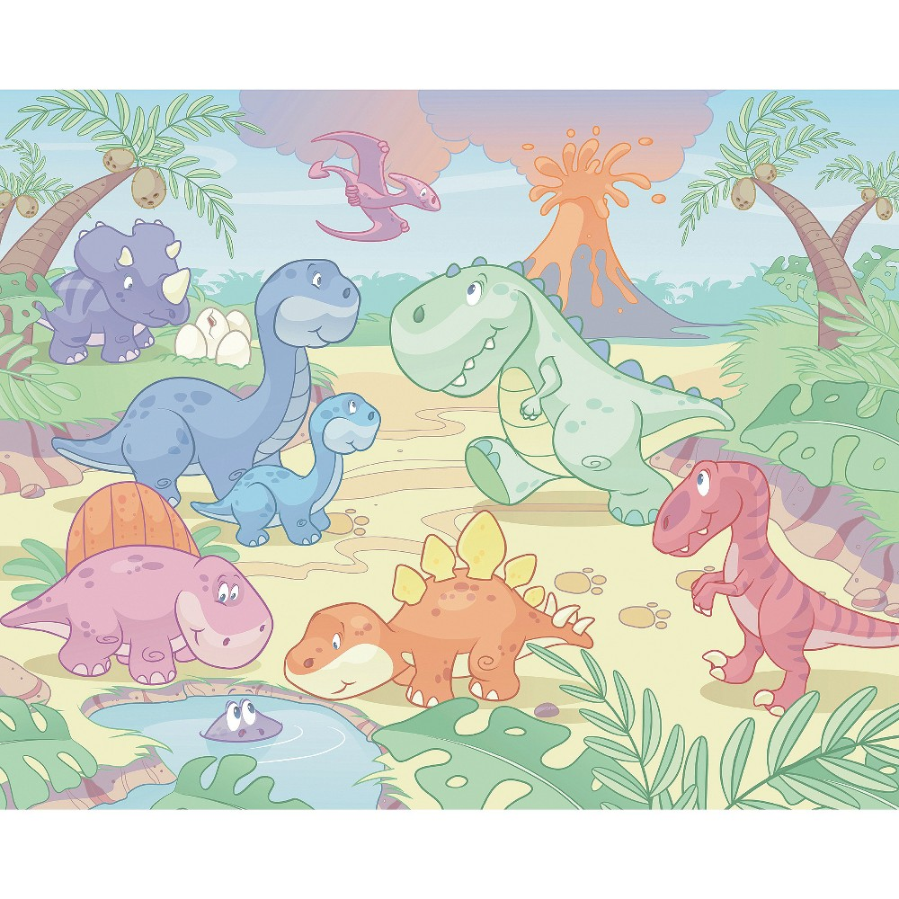 Image of Walltastic Baby Dino World Mural, Multi-Colored