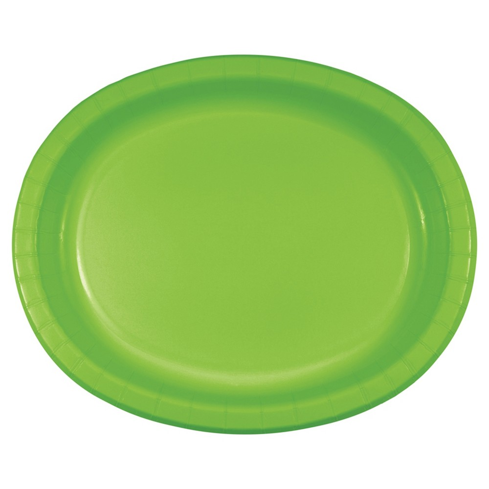 Fresh Lime Green 10 x 12 Oval Platters - 8ct