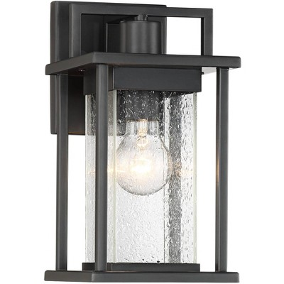 """John Timberland Modern Outdoor Wall Light Fixture Painted Dark Gray 13"""" Spotted Clear Glass for Exterior House Porch Patio"""