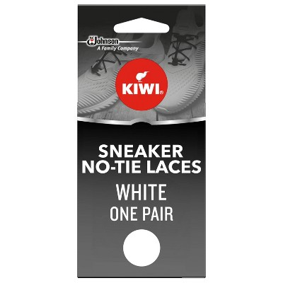 KIWI Sneaker No-Tie Shoe Laces, White, One Size Fits All (1 Pair)