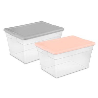 56qt Clear Storage Bin With Feather Peach/Gray - Room Essentials™