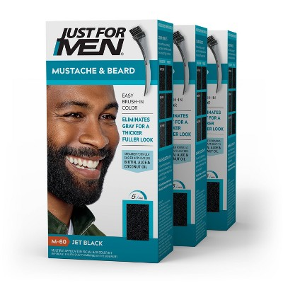 Just For Men Mustache & Beard Beard Coloring for Gray Hair with Brush Included - 3pk