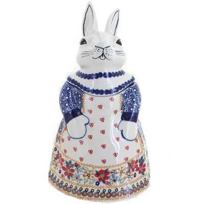 Blue Rose Polish Pottery Red Daisy Rabbit Cookie Jar