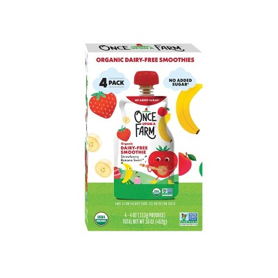 Once Upon a Farm Organic Strawberry Banana Swirl Dairy-Free Smoothie - 4ct/4oz Pouches