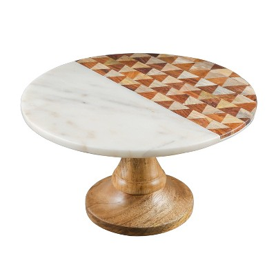 "Thirstystone 12"" Marble and Wood Cake Stand"