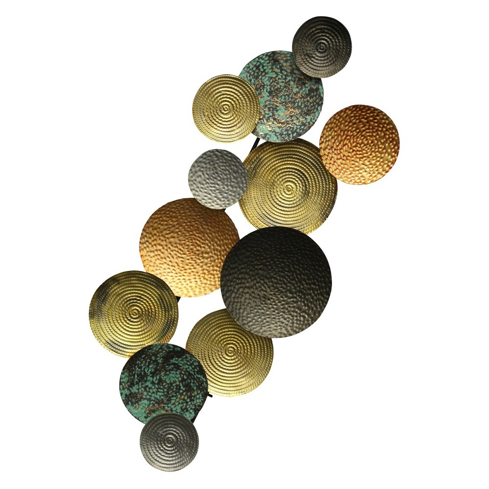 42 Hammered Circle and Gunmetal Decorative Wall Art - StyleCraft, Multi-Colored