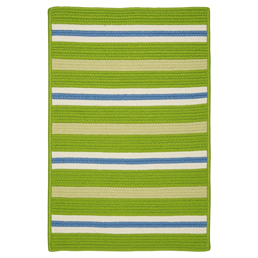 Painter Stripe Braided Area Rug - Garden Bright - (5'x7') - Colonial Mills, Apple Green