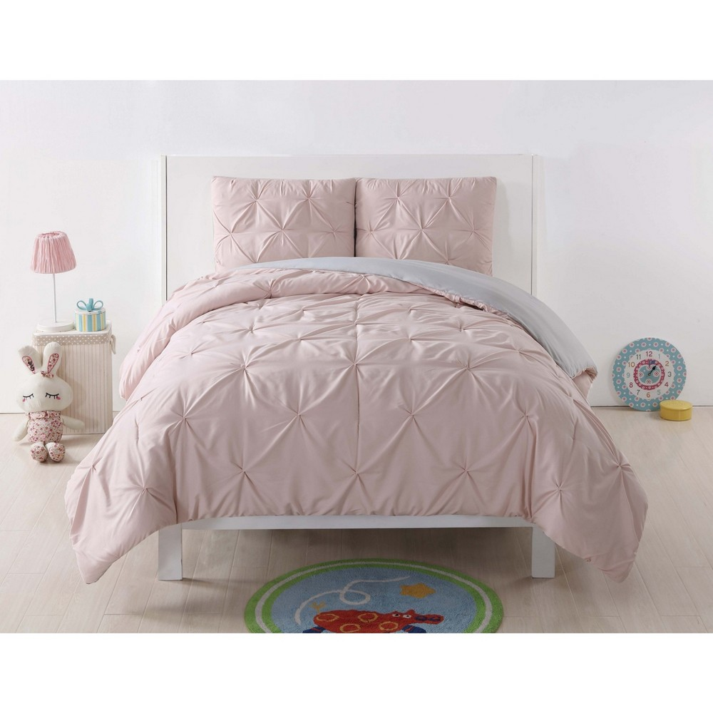 Image of Full/Queen Anytime Pleated Comforter Set Blush/Gray - My World
