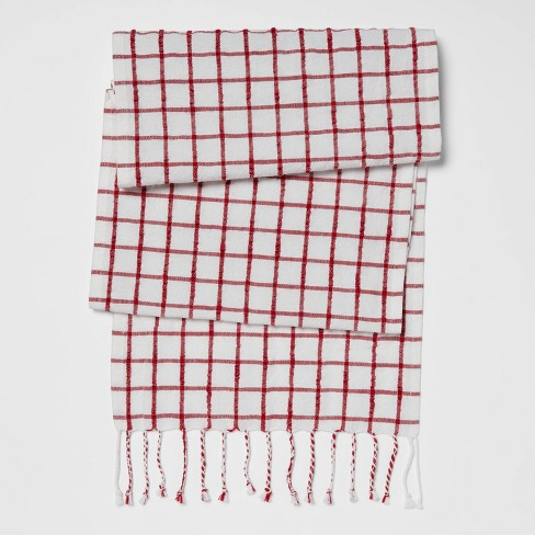 "72"" x 14"" Cotton Windowpane Table Runner Red - Threshold™ - image 1 of 3"