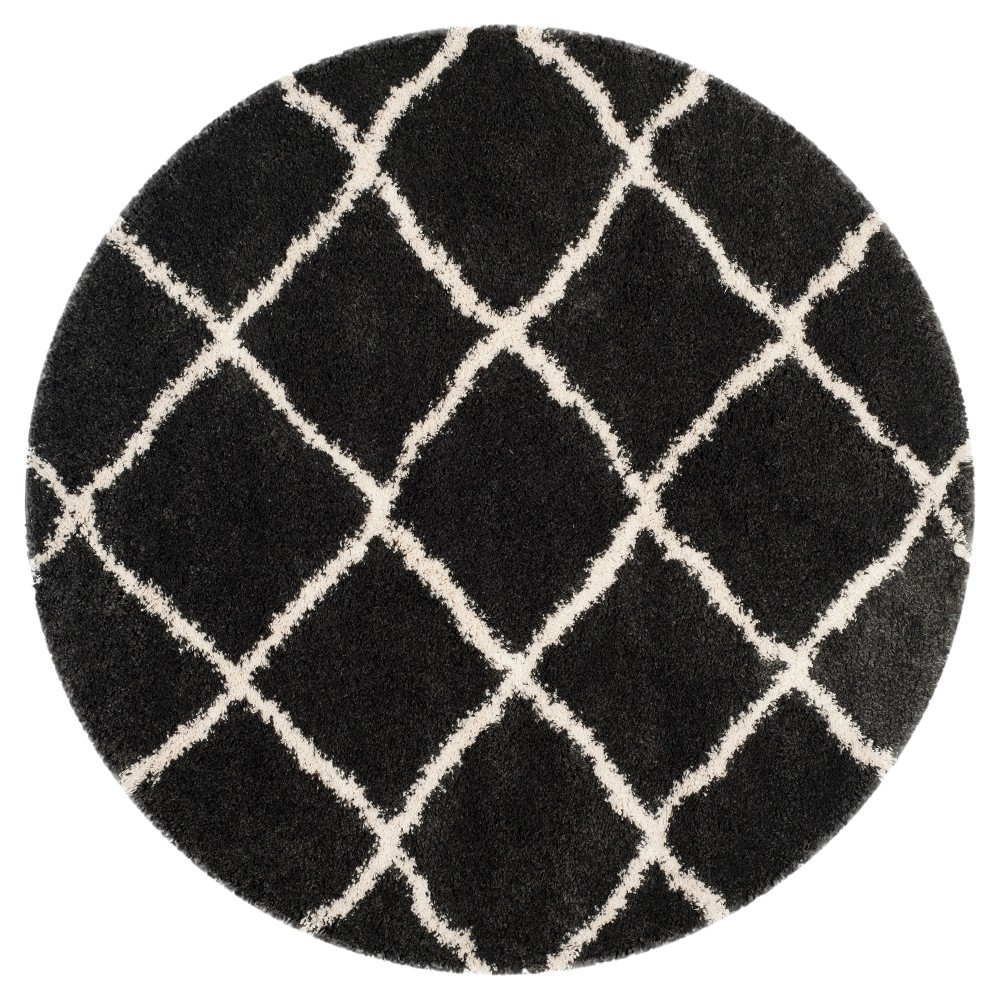 Charcoal/Ivory Abstract Loomed Round Area Rug - (6'7 Round) - Safavieh, Grey/Ivory