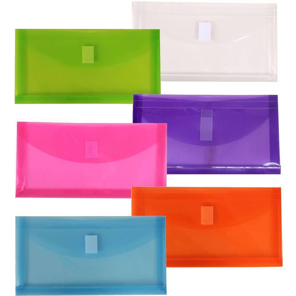 Jam Paper 5 1/4 x 10'' 6pk Plastic Envelopes with Hook & Loop Closure, 1 Expansion, #10'' - Multicolor, Multi-Colored