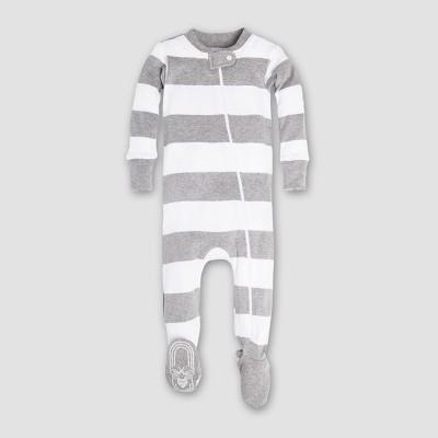 Burt's Bees Baby Boys' Organic Cotton Rugby Stripe Sleeper - Heather Gray 3-6M