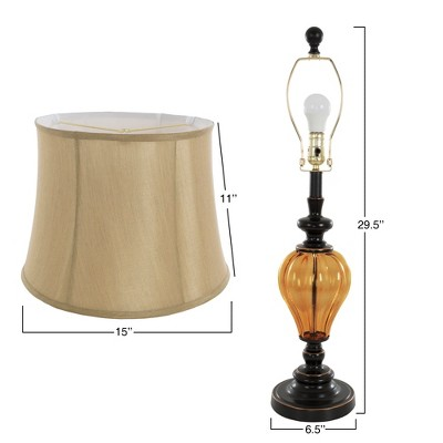Table Lamps Amber Glass Set Of 2 (2 LED Bulbs Included)   Yorkshire Home :  Target
