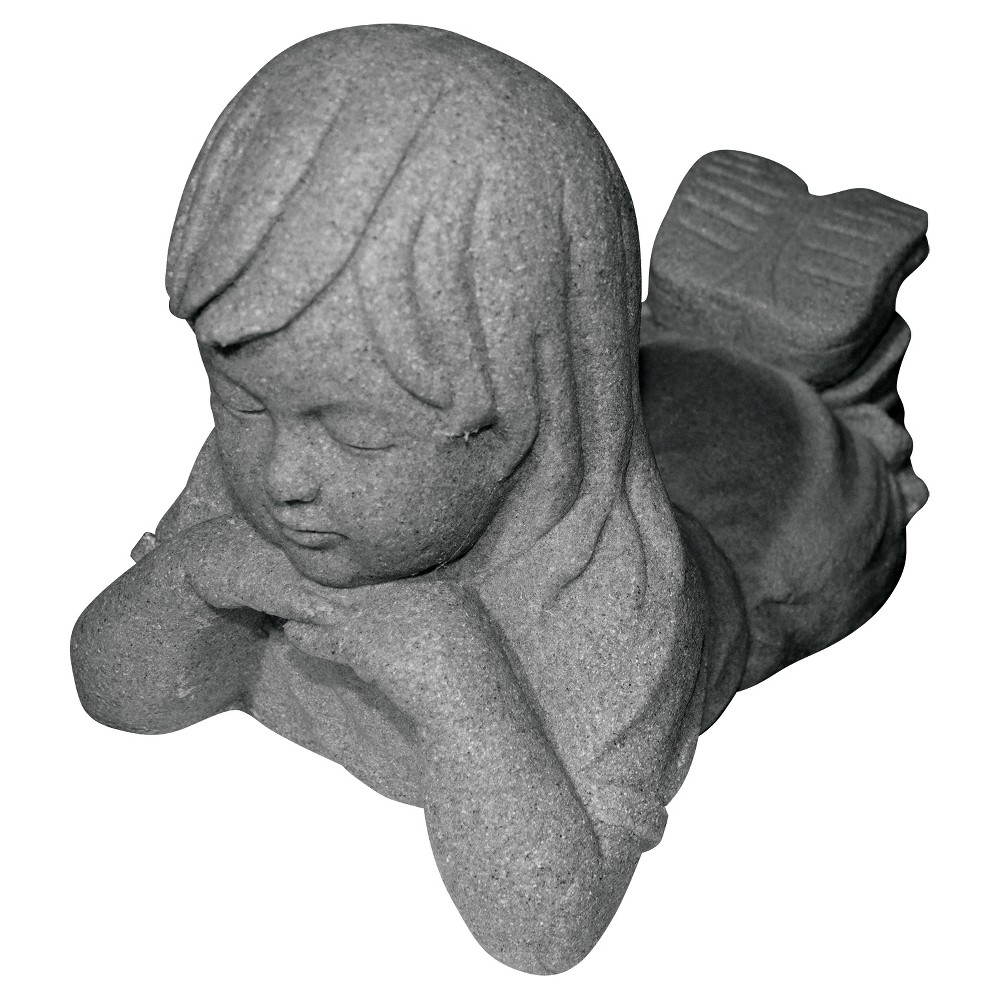 Image of 10.88 Garden Stone Day Dreamer Girl Statuary - Gray - Emsco