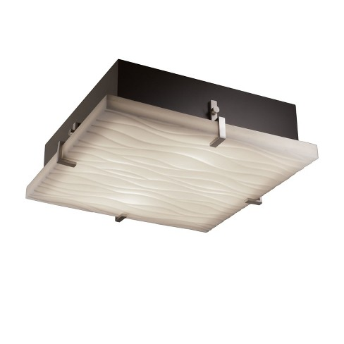 """Justice Design Group PNA-5557-WAVE Porcelina Collection Convertible 17"""" Wide Clips Flush-Mount Ceiling Fixture / Wall Sconce - image 1 of 1"""