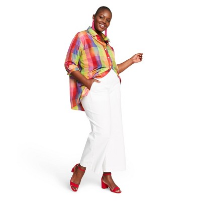 Women's Plus Size Checkered Long Sleeve Collared Silk Blouse   Isaac Mizrahi For Target by Isaac Mizrahi For Target