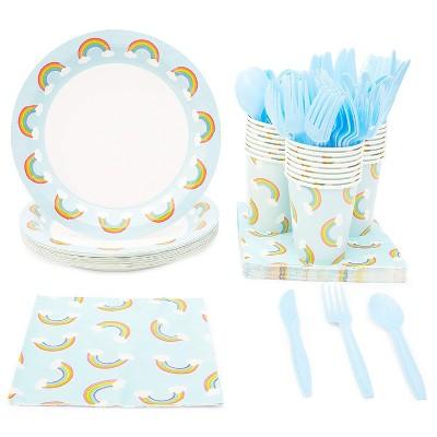 Blue Panda 144 pcs Pride Rainbow Party Disposable Dinnerware Set - Plate, Cups, Napkins & Cutlery Serves 24