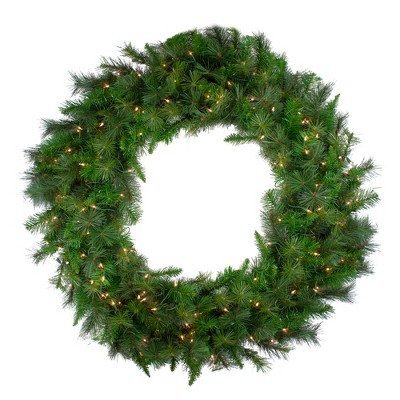 """Northlight 60"""" Prelit LED Canyon Pine Artificial Christmas Wreath - Clear Lights"""