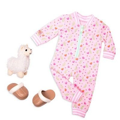 """Our Generation Pajama Outfit with Soft Plush for 18"""" Dolls - Llama Pajama - Pink"""