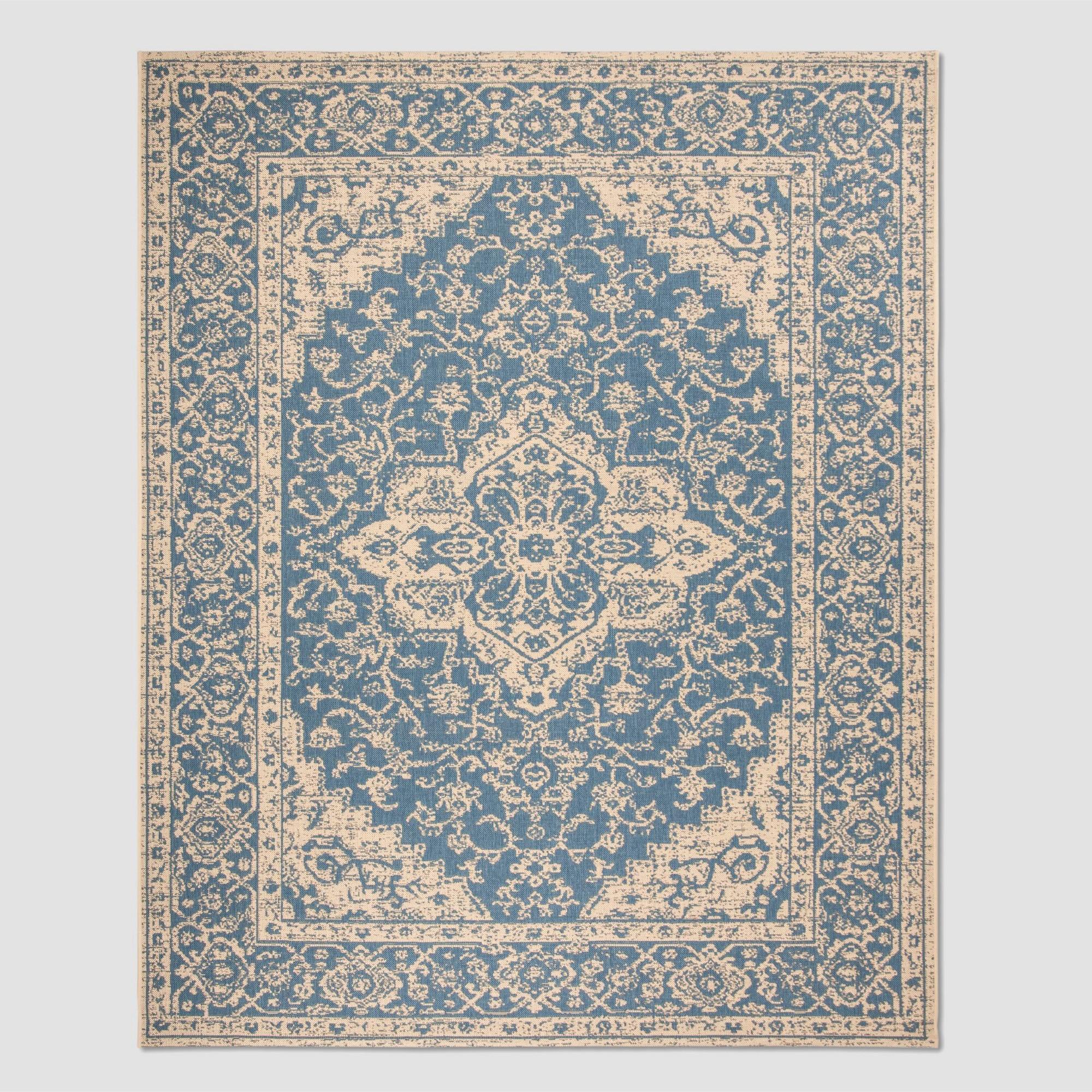 8'6 x 12' Kiley Outdoor Rug Blue/Cream - Safavieh, Blue Off-White