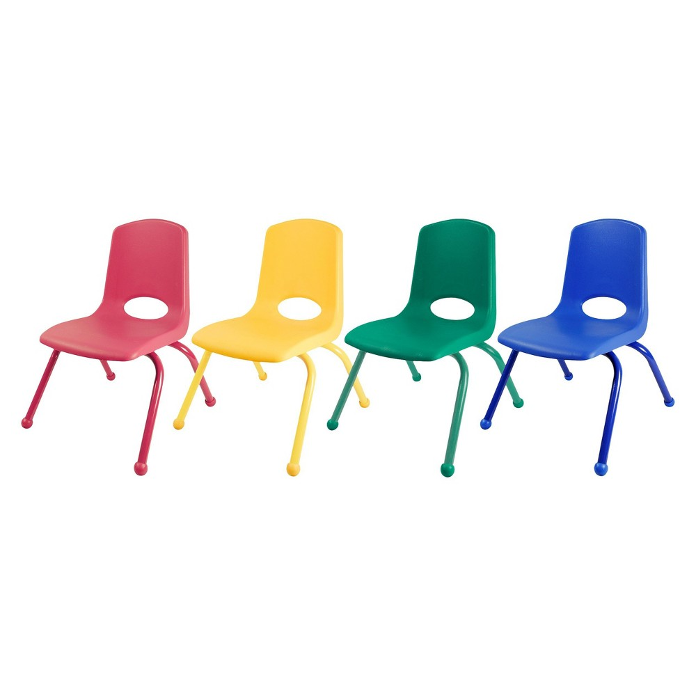 ECR4Kids Stack Chair 12 Assorted Pack - Multi-Colored, Blue