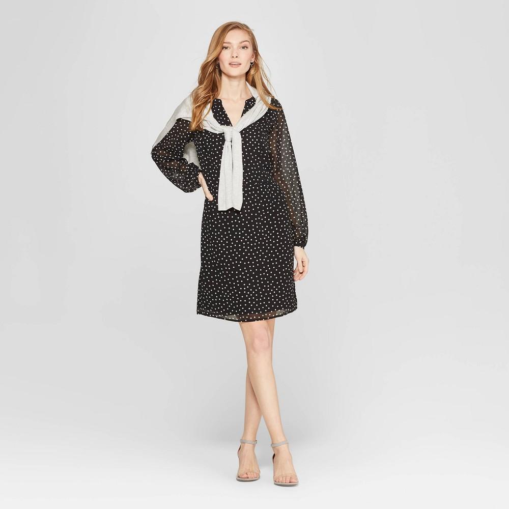 Women's Polka Dot Long Sleeve Chiffon Dress - A New Day Black/White XL