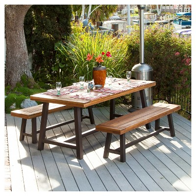Carlisle 3pc Rustic Wood Patio Dining Set   Brown/Black   Christopher  Knight Home : Target
