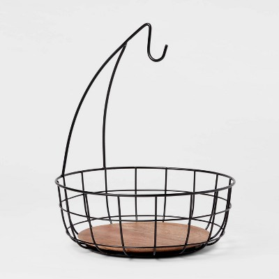 Iron and Mangowood Wire Fruit Basket with Banana Hanger Black - Threshold™