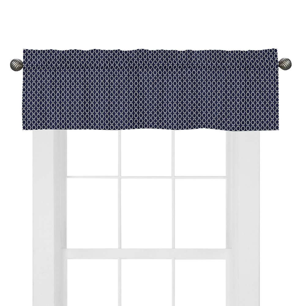 Sweet Jojo Designs Orange & Navy Arrow Window Valance - Hexagon Print