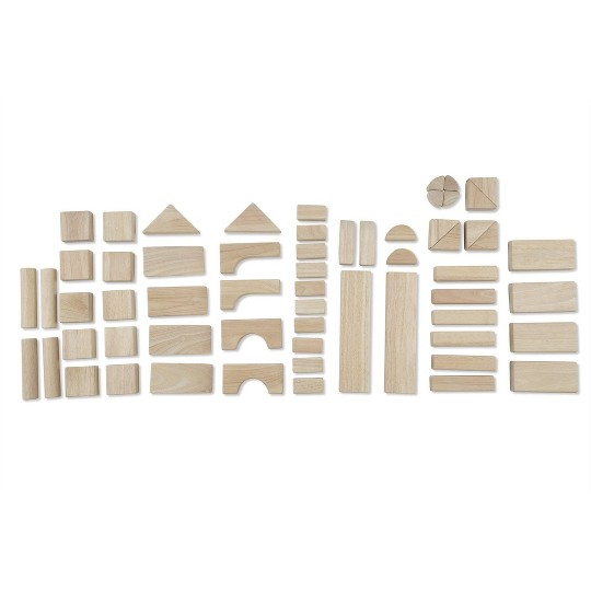 Melissa & Doug Standard Unit Solid-Wood Building Blocks With Wooden Storage Tray (60pc) image number null