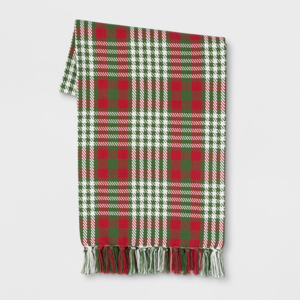 Cotton Plaid Throw Blanket Green/Red - Threshold