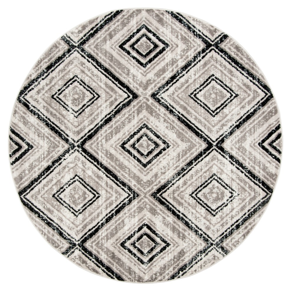 Gray/Black Geometric Loomed Round Area Rug 6'7 - Safavieh