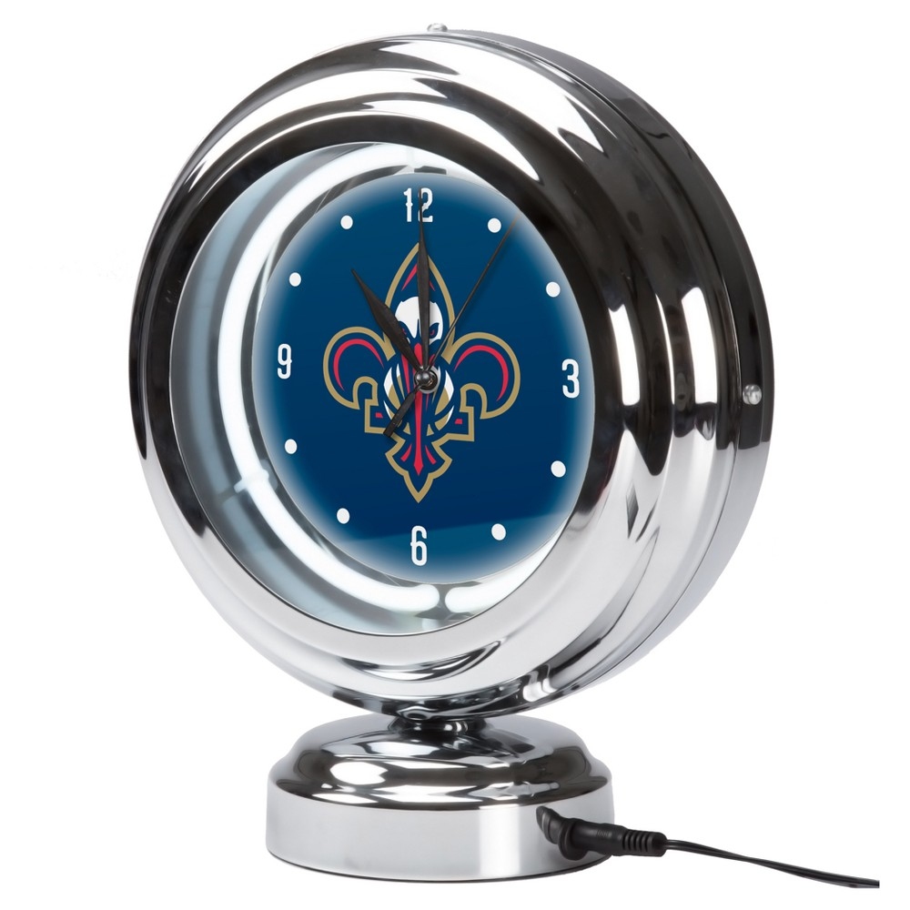 NBA New Orleans Pelicans Chrome Retro Style Tabletop Neon Clock