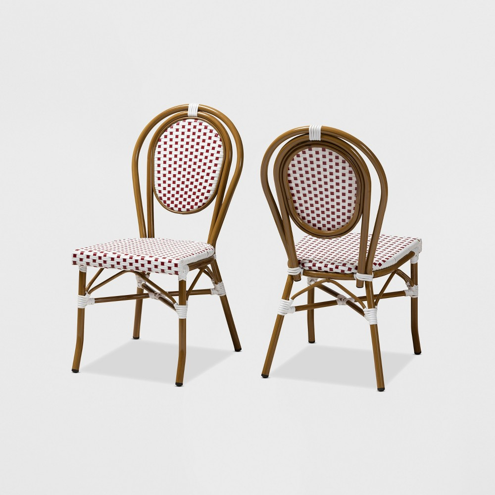 Set of 2 Gauthier Indoor and Outdoor Stackable Bistro Dining Chairs Red/White - BaxtonStudio